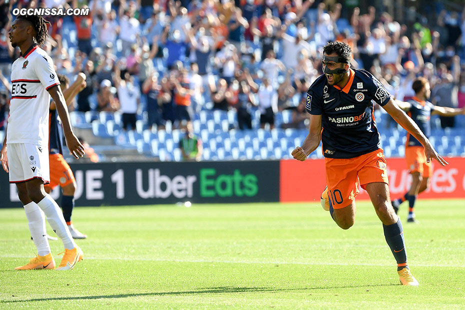 Montpellier ouvre le score par Gaetan Laborde