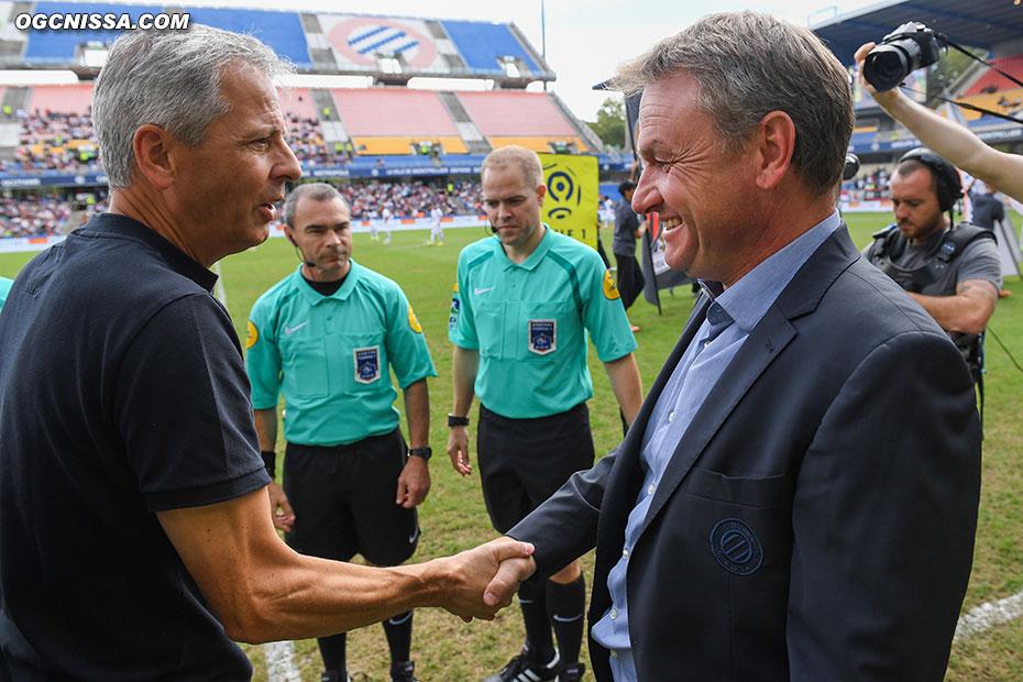 Lucien Favre avec l'ancien Aiglon Frédéric Hantz, actuel entraîneur de Montpellier