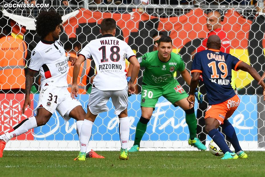 Souleymane Camara a une grosse occasion en fin de match, mais Yoan Cardinale veille