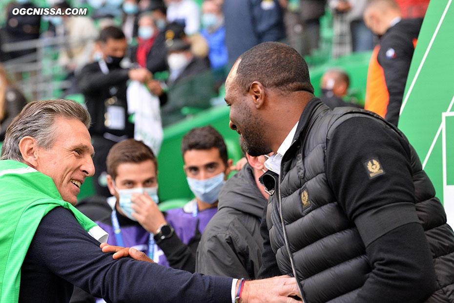 Patrick Vieira et Claude Puel avant le coup d'envoi