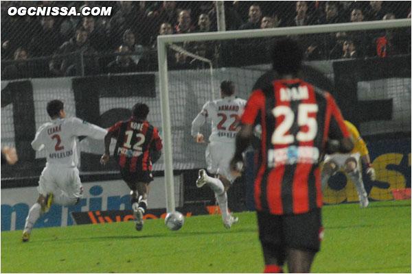 Mais la joie des parisiens est de courte durée, Koné s'échappe sur un contre et redonne l'avantage à Nice ! 2-1 !