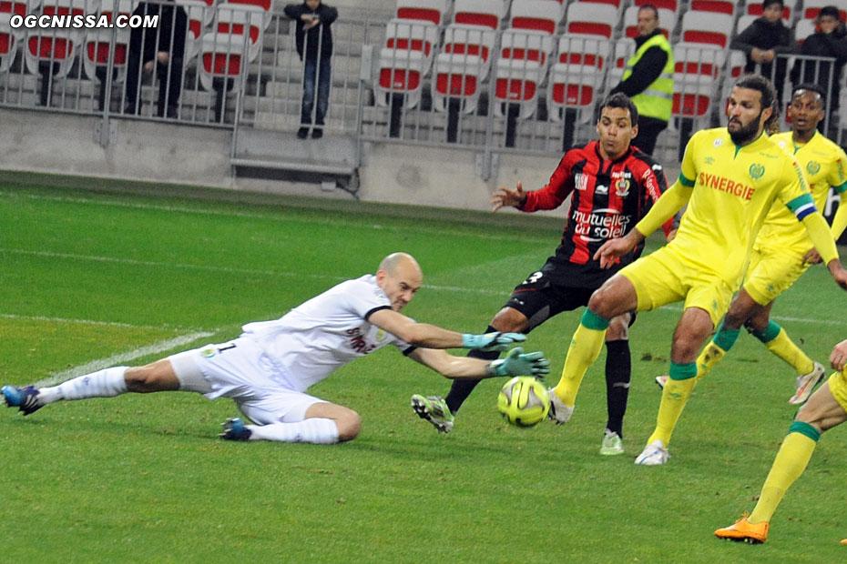 Carlos Eduardo, qui a marqué un but refusé mais pourtant valable en fin de 1ère période, n'arrivera plus à tromper le gardien nantais