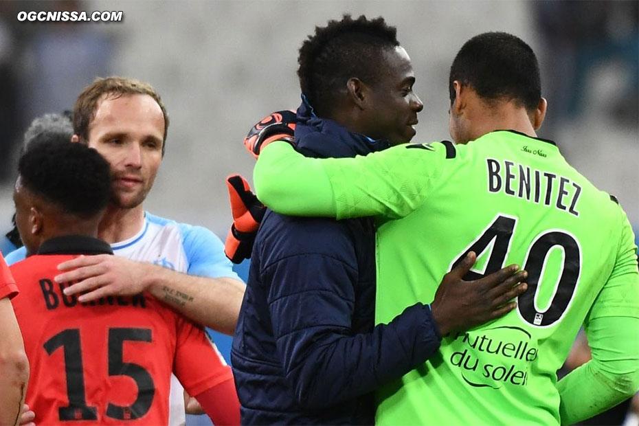 Les Anciens Aiglons Valére Germain et Mario Balotelli saluent leurs anciens partenaires.