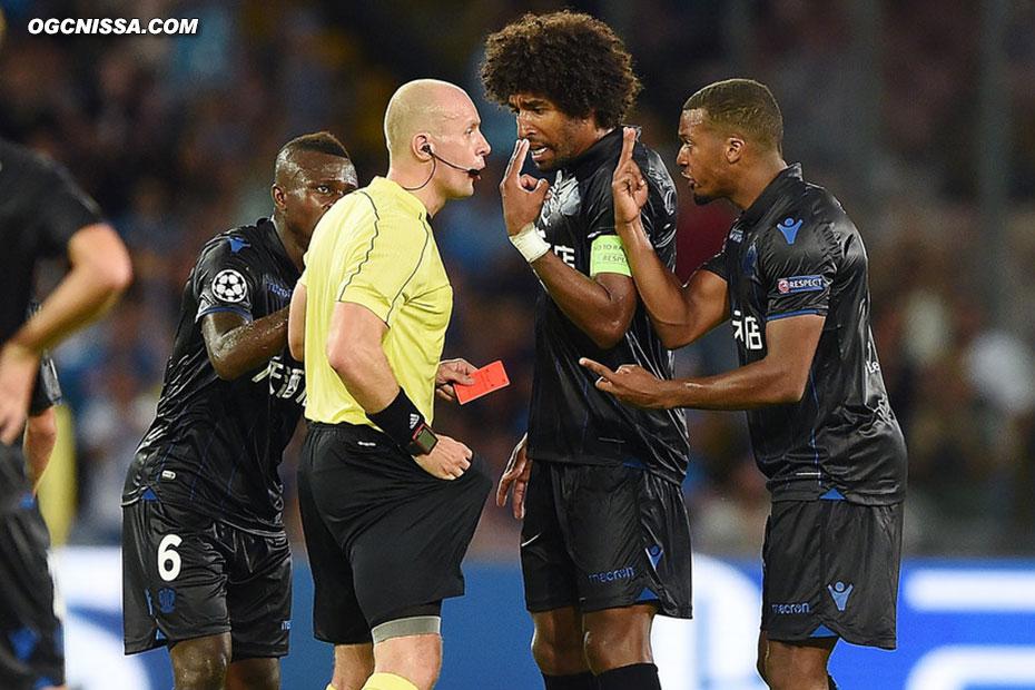 L'arbitre se paiera également Alassane Plea, malgré les protestations de Dante Bonfim