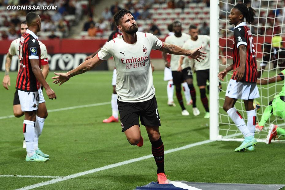 Olivier Giroud égalise pour le Milan AC